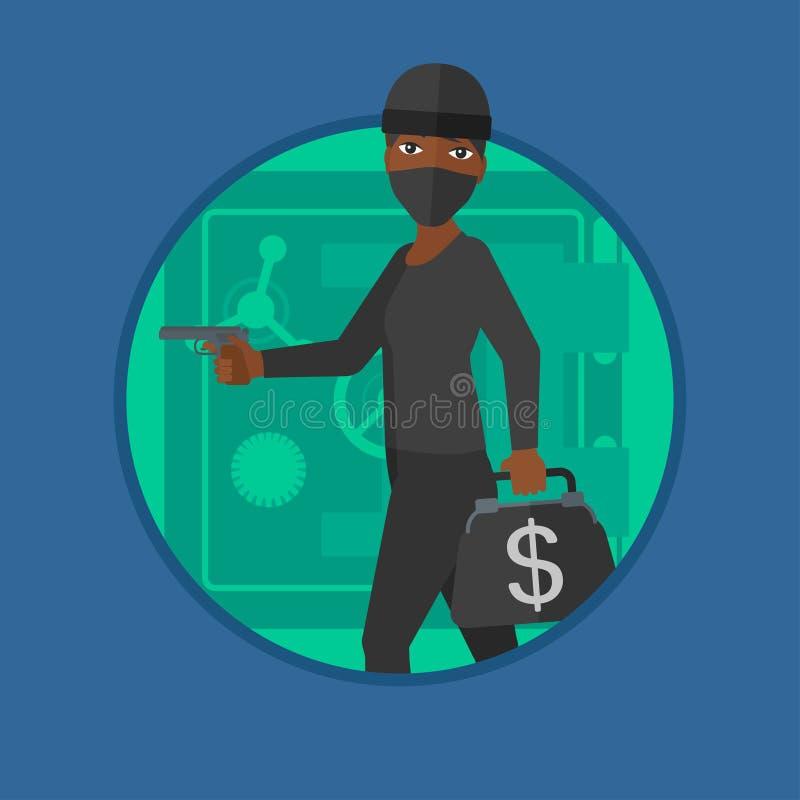Ladrón con el arma cerca del ejemplo seguro del vector ilustración del vector