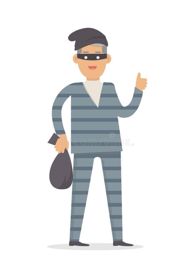 Ladrón con el bolso del dinero en la máscara negra aislada ilustración del vector