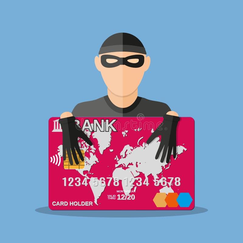 Ladrón con el ejemplo del vector de la tarjeta de crédito stock de ilustración