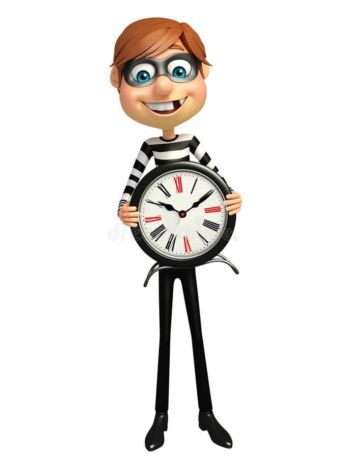 Ladrón con el reloj stock de ilustración
