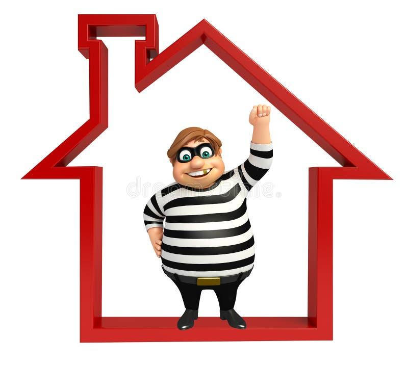 Ladrón con la muestra casera ilustración del vector
