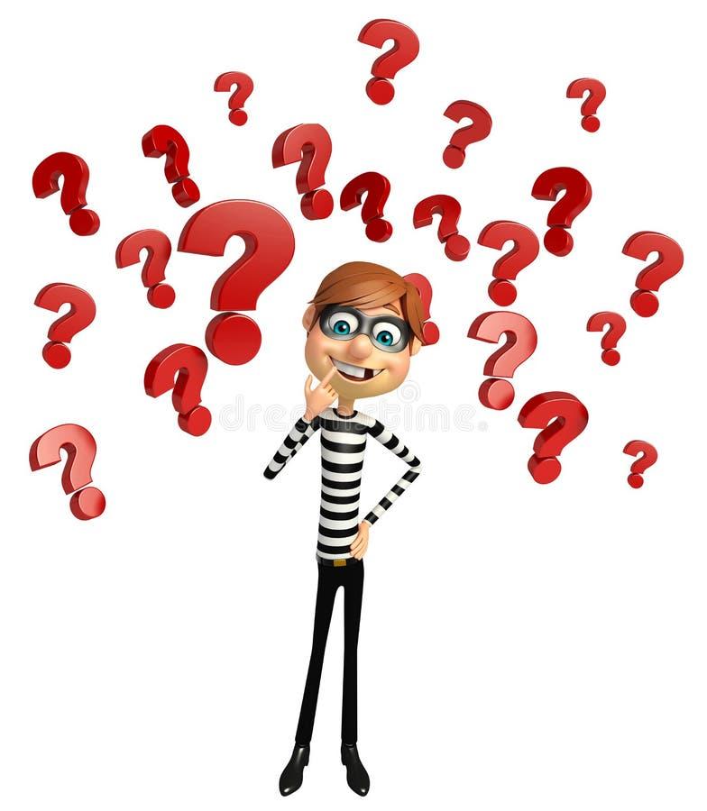 Ladrón con la muestra del signo de interrogación stock de ilustración