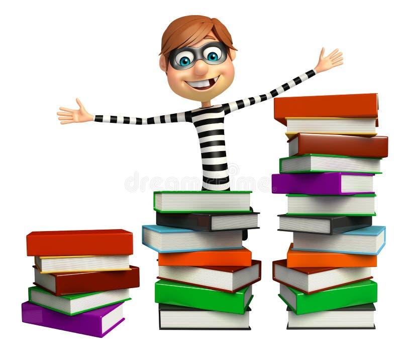 Ladrón con la pila de libro stock de ilustración