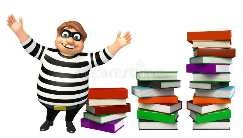 Ladrón con la pila de libro libre illustration