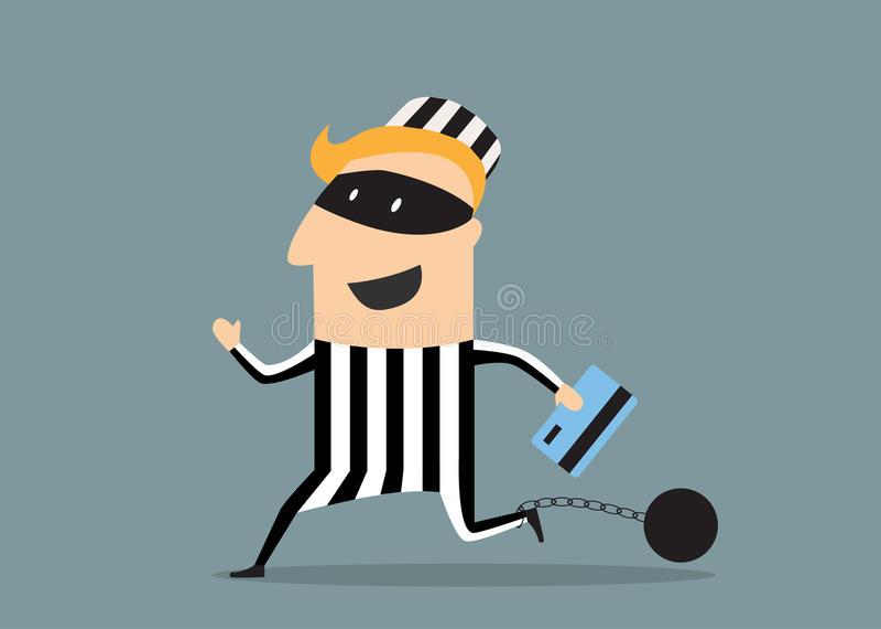 Ladrón con la tarjeta de crédito ilustración del vector