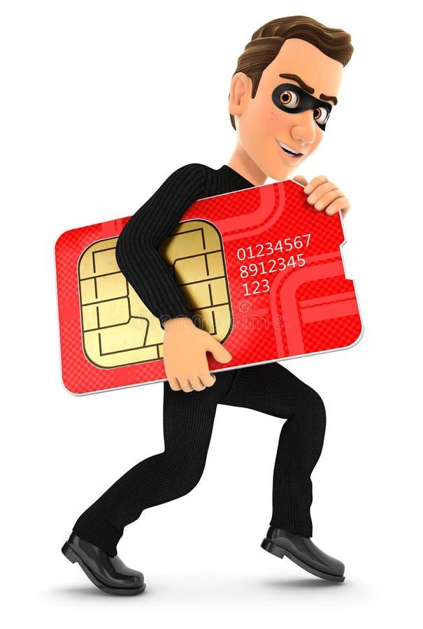 ladrón 3d que roba una tarjeta grande del sim libre illustration