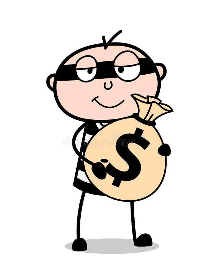 Ladrón de la historieta con vector del bolso del dólar stock de ilustración