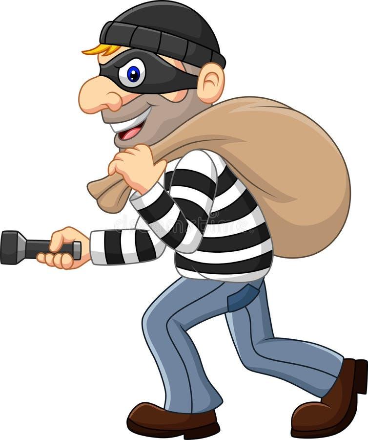 Ladrón de la historieta que camina y que lleva un bolso con la linterna ilustración del vector