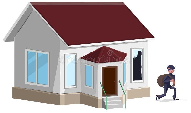 Ladrón de sexo masculino en casa con túnica de la máscara Propiedad insurance stock de ilustración