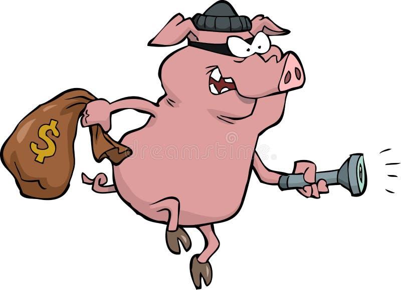 Ladrón del cerdo stock de ilustración