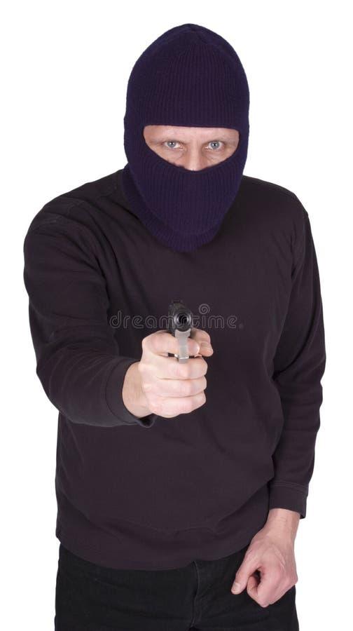 Ladrón del hombre de Cocept de la violencia de la cuadrilla con el arma aislado imagen de archivo