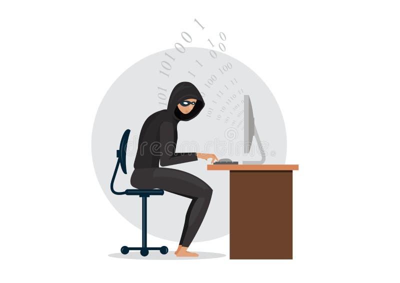 Ladrón del pirata informático con el ordenador portátil que roba contraseñas y datos confidenciales ilustración del vector