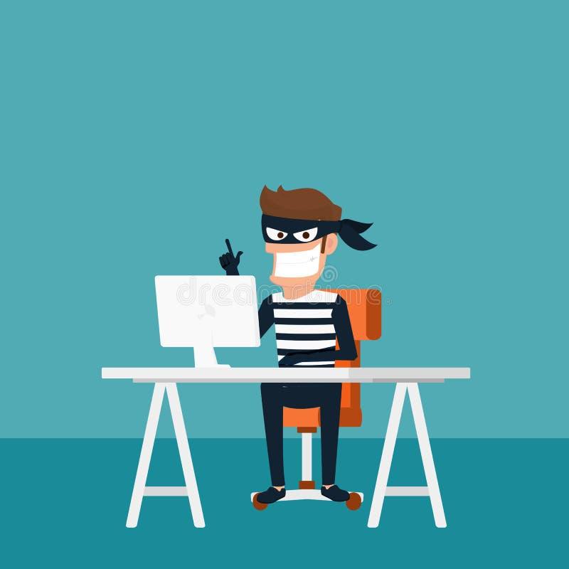 ladrón El pirata informático que roba datos confidenciales como contraseñas de un útil de computadora personal para los virus ant libre illustration