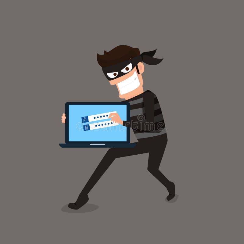 ladrón El pirata informático que roba datos confidenciales como contraseñas de un útil de computadora personal para los virus ant stock de ilustración