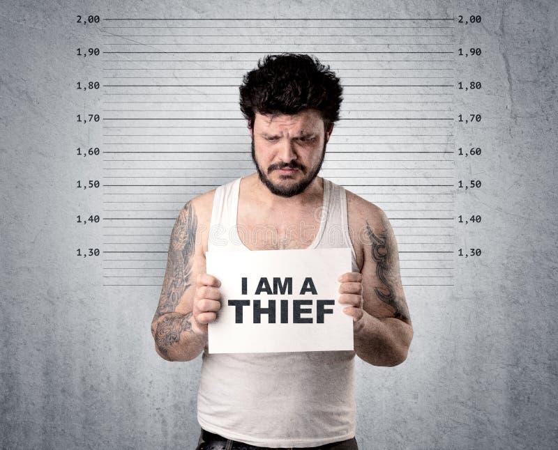 Ladrón en cárcel imagen de archivo libre de regalías