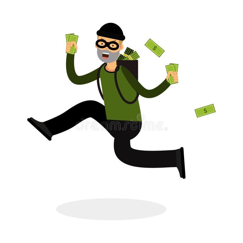 Ladrón en un carácter de la máscara que corre con una mochila llena de ejemplo del dinero ilustración del vector