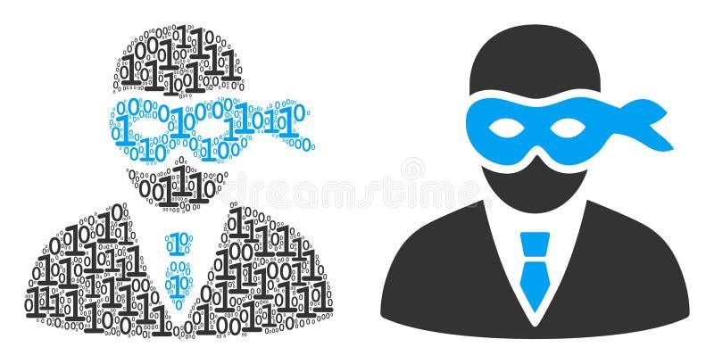 Ladrón enmascarado Collage de dígitos binarios stock de ilustración