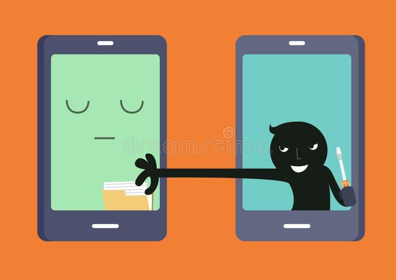 Ladrón Through Internet stock de ilustración
