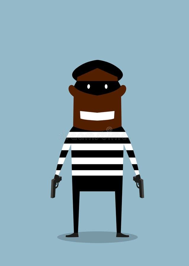 Ladrón negro en máscara con el arma ilustración del vector