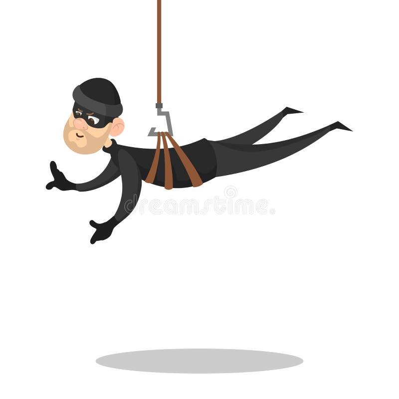 Ladrón o ladrón en ropa y máscara negras libre illustration