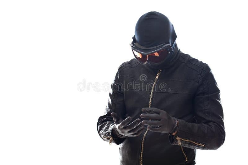 Ladrón peligroso en negro imágenes de archivo libres de regalías
