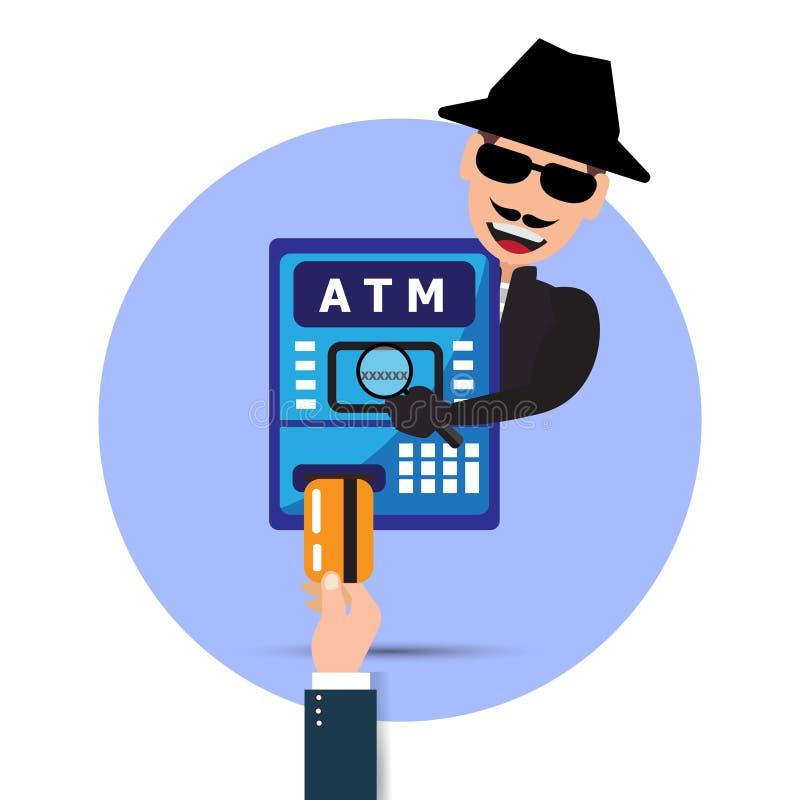 ladrón Pirata informático que roba contraseña sensible de la máquina de la atmósfera Phishing, el desnatar de la atmósfera Ilustr ilustración del vector