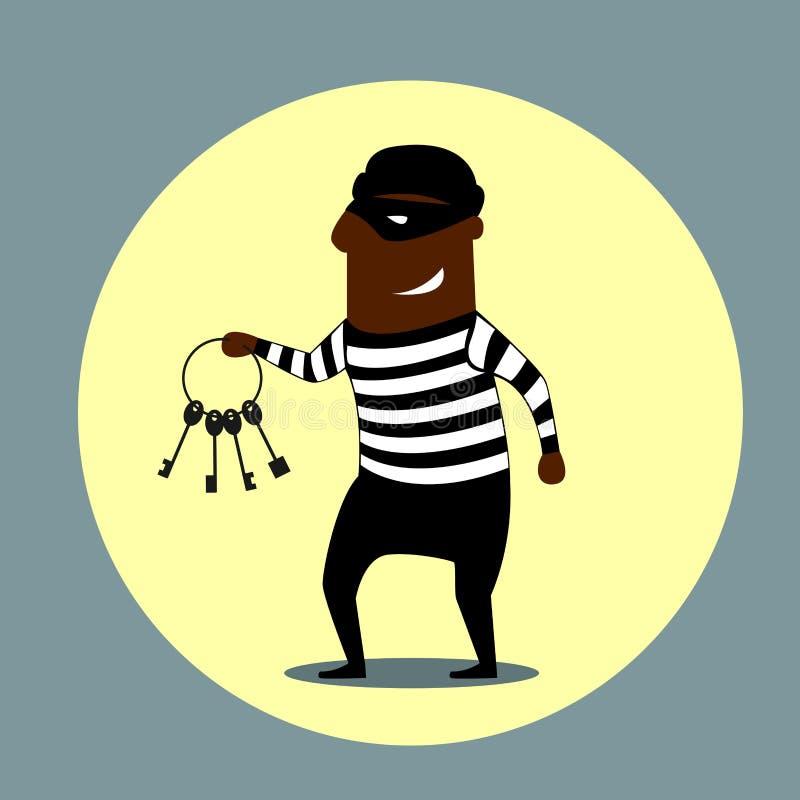 Ladrón que lleva un sistema de llaves stock de ilustración