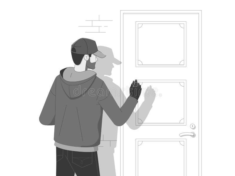Ladrón Wearing del robo un vestido de la máscara y una camisa negra que entran silenciosamente los muertos de la noche para rompe ilustración del vector