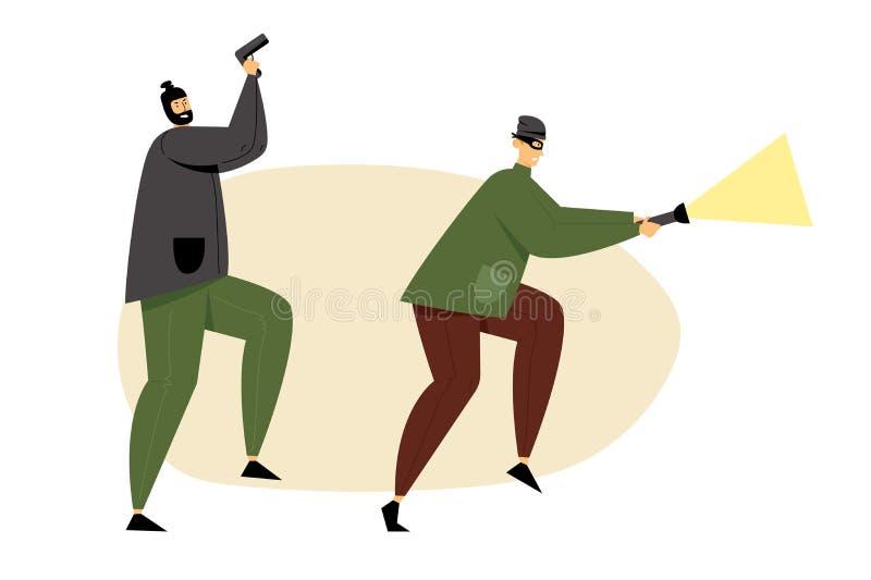 Ladrões, assaltantes ou ladrões mascarados guardando a arma e a lanterna elétrica de incandescência Sneaking para o dinheiro, a e ilustração royalty free
