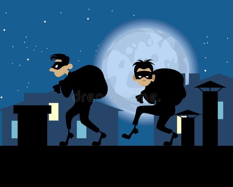 Ladrões da noite no telhado ilustração royalty free
