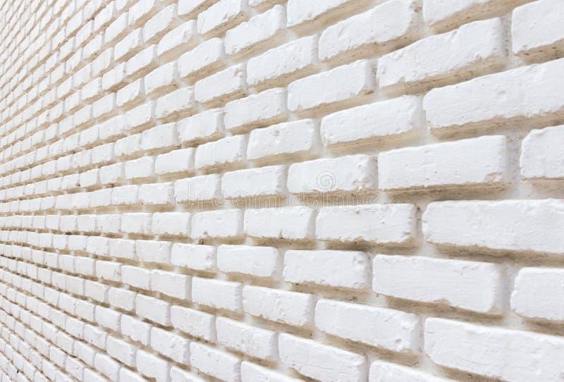 Ladrillo blanco en fondo de la perspectiva de la pared imágenes de archivo libres de regalías