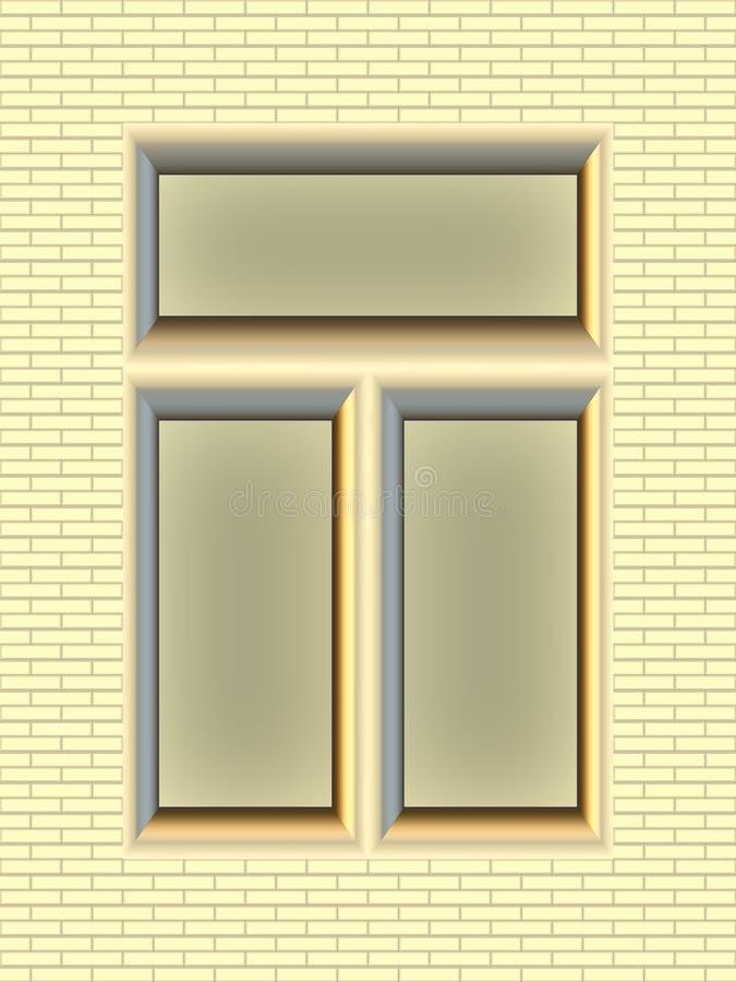 Ladrillo-pared del oro con la ventana libre illustration