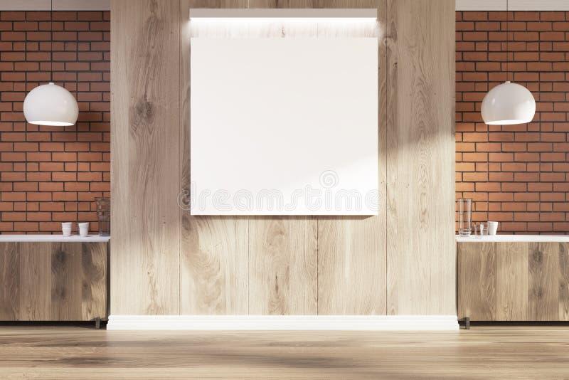 Ladrillo y sitio vacío de madera, cartel cuadrado libre illustration