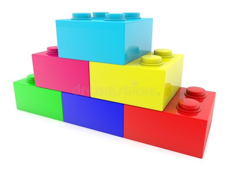 Ladrillos apilados del juguete en diversos colores libre illustration