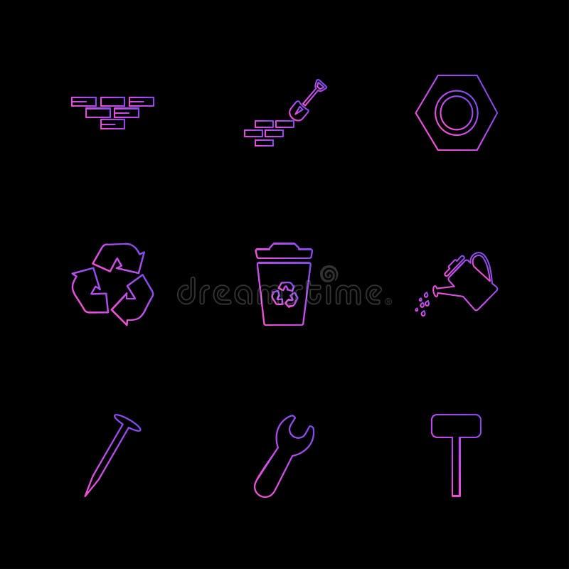 ladrillos, espada, llave, hardware, herramientas, construcciones, laboratorio stock de ilustración