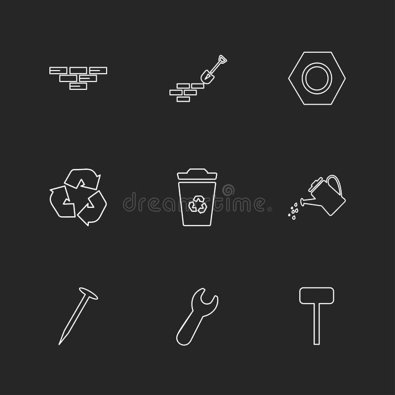 ladrillos, espada, llave, hardware, herramientas, construcciones, laboratorio ilustración del vector