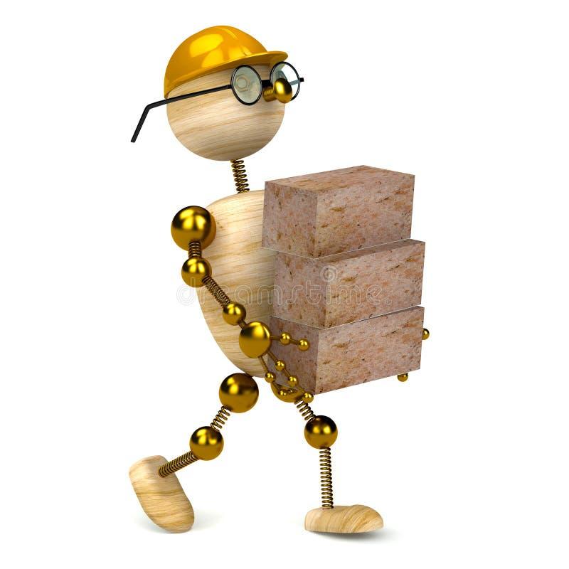 ladrillos que llevan del hombre de madera 3d ilustración del vector
