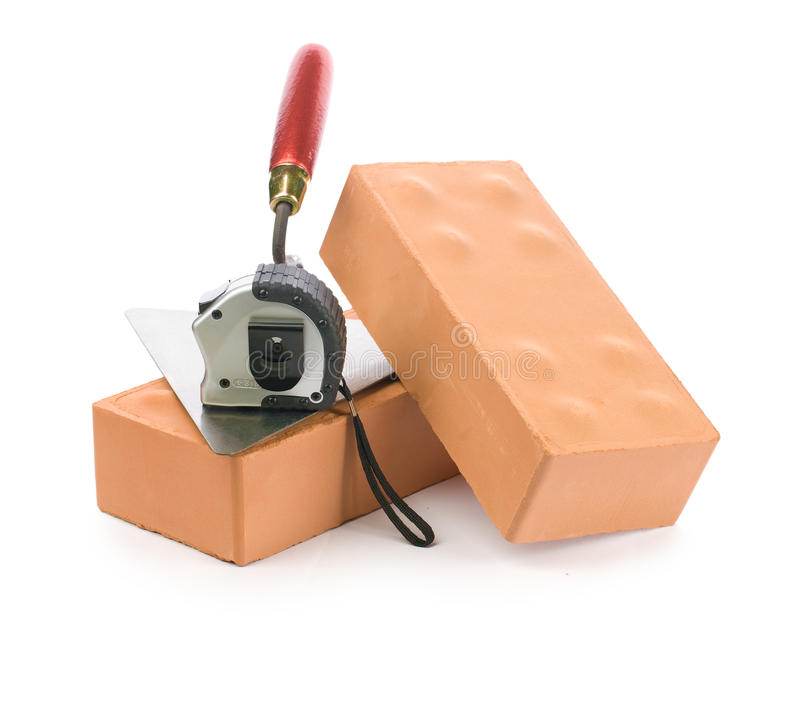 Ladrillos y herramientas foto de archivo libre de regalías