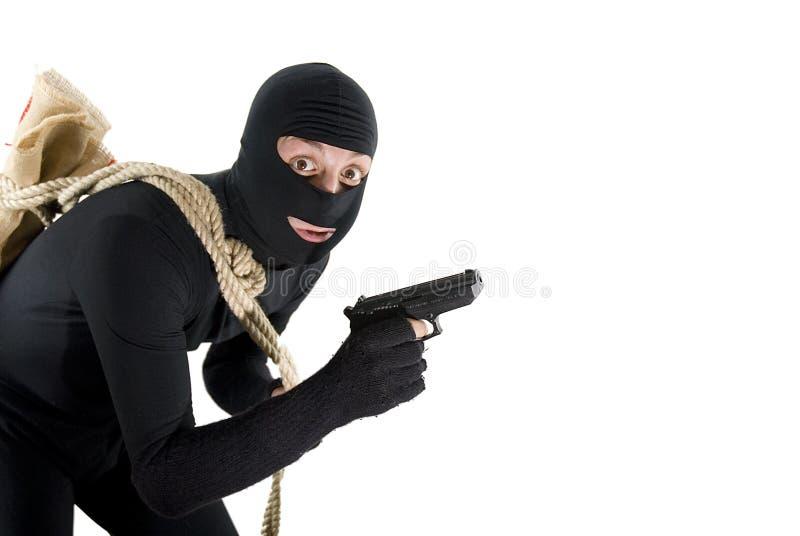 Ladro attento sorpreso prima del suo job fotografie stock libere da diritti