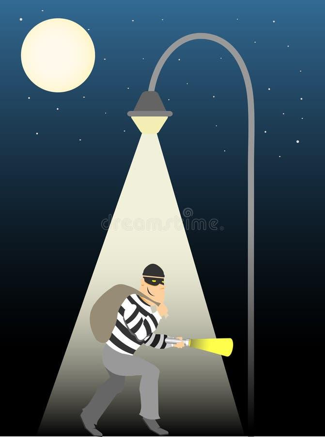 Ladro che striscia sotto la lampada di via della luna piena royalty illustrazione gratis