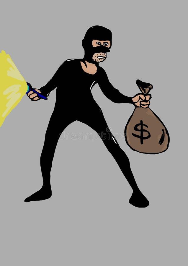 Download Ladro con la borsa illustrazione di stock. Illustrazione di loot - 55350953