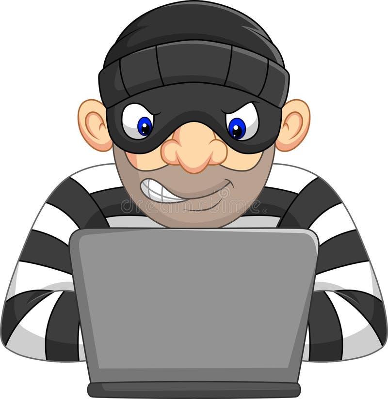 Ladro del pirata informatico nella maschera che ruba informazione personale dal computer illustrazione di stock