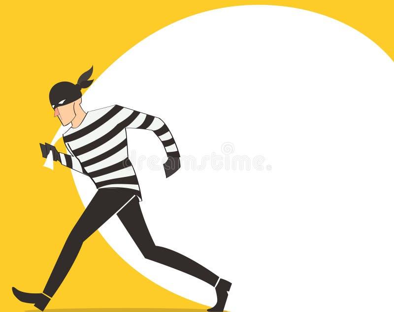 ladro dell'illustrazione del fumetto del bandito di vettore del carattere del ladro in una maschera illustrazione vettoriale