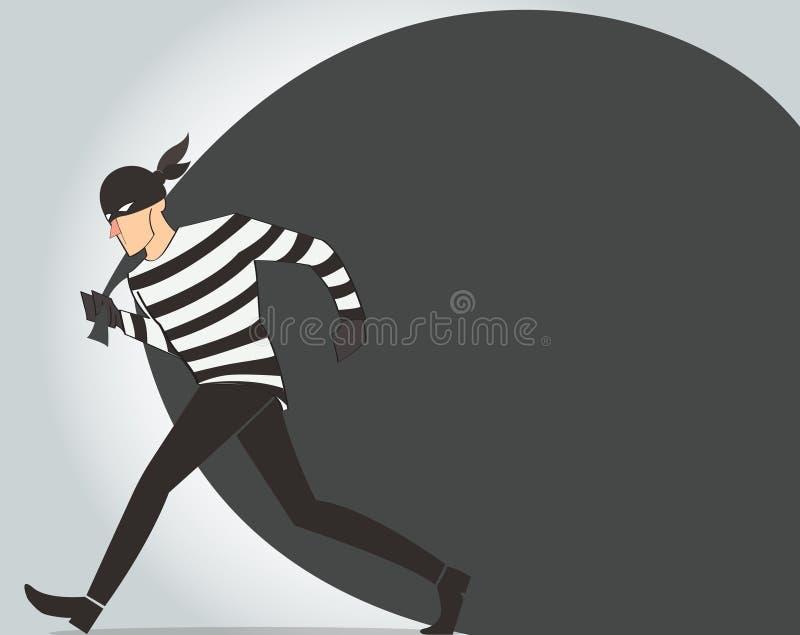 ladro dell'illustrazione del fumetto del bandito di vettore del carattere del ladro in una maschera illustrazione di stock
