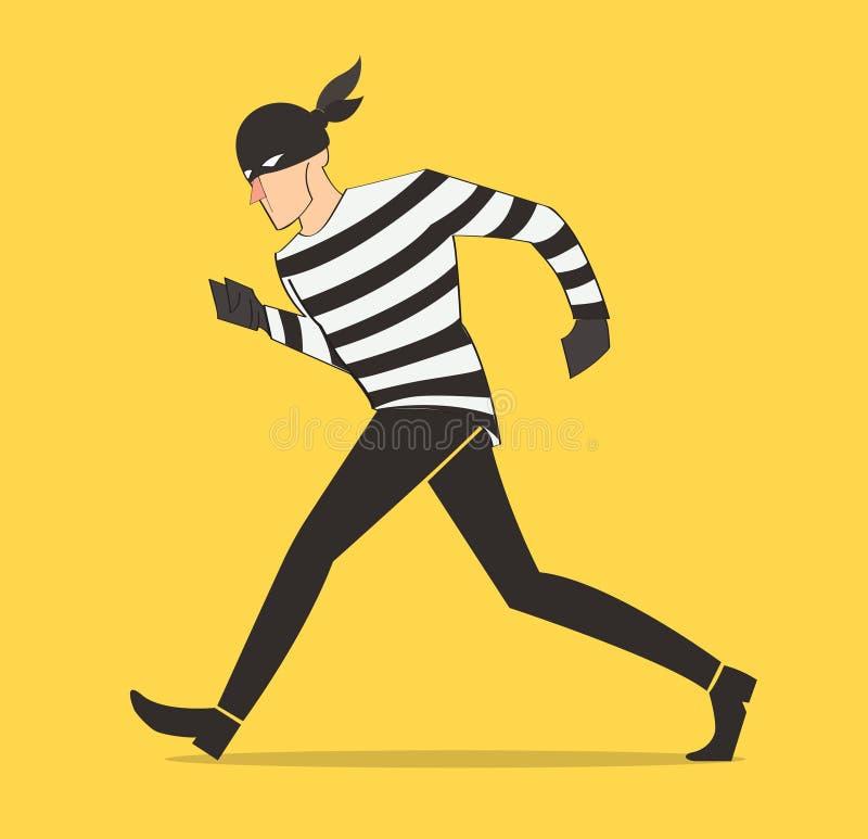 ladro dell'illustrazione del fumetto del bandito di vettore del carattere del ladro in una maschera royalty illustrazione gratis