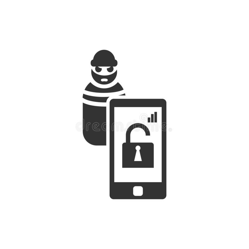 ladro di connessione, icona domestica astuta di vettore Icona di vettore di sicurezza royalty illustrazione gratis