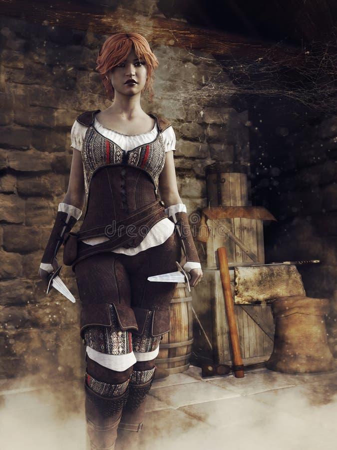 Ladro femminile di fantasia in un castello illustrazione di stock