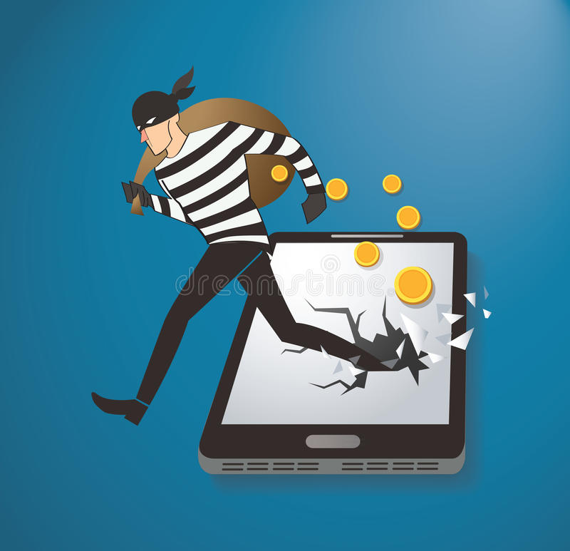 Ladro Hacker Stealing Money sullo Smart Phone royalty illustrazione gratis