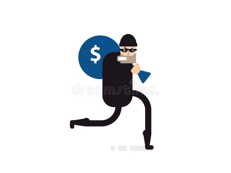 Ladro isolato dell'illustrazione con la borsa di soldi illustrazione di stock