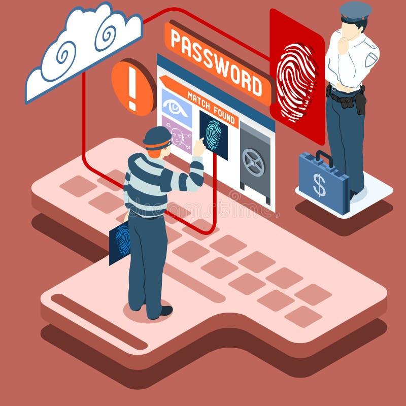 Ladro isometrico Biometric Recognition - Access Denie di Infographic royalty illustrazione gratis